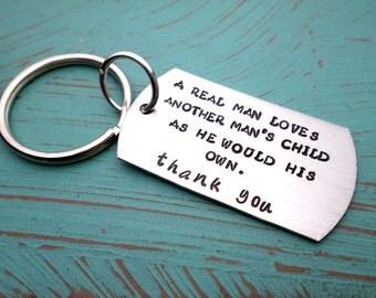 Step Dad Keychain, Stepfather Gift, Step Dad Gift, Thank You Keychain ...