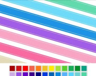 Stitched Ribbon Digital Clip Art - INSTANT DOWNLOAD - 36 colours - digital border grosgrain ribbon