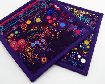 Quilted Potholders, Fabric Hot Pads - Colorful Purple Cotton Pot Holders
