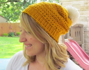 Wool Beanie hat with large Pompom