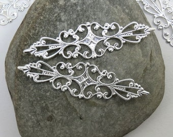 10 Bendable Filigree Wrap Components, Bright Silver Filigree Links,  Ring Components, Jewelry Making Supplies, Item 168m