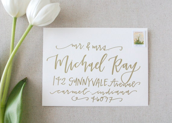 Addressing A Wedding Gift Card : Wedding Calligraphy Envelope Addressing / Gold Wedding Calligraphy