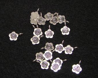 Twenty Silver Flower Bails - Tibetan Silver - 10 mm