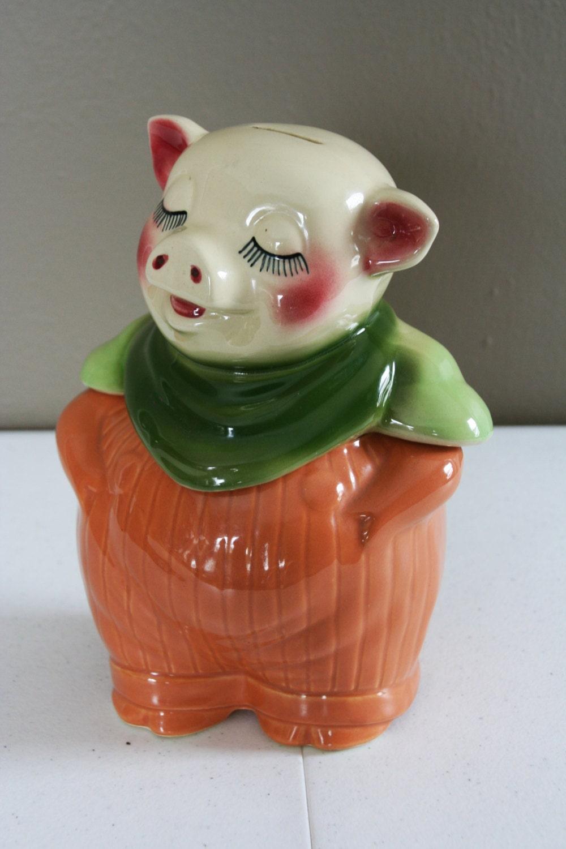 Smiley The Pig Cookie Jar Vintage Shawnee Pottery Pumpkin