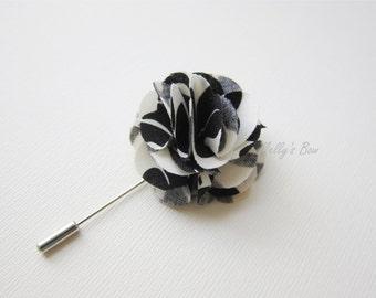 Men's Lapel Flower - Flower Lapel Pin - Wedding Boutonniere - Tuxedo Corsage - Black Printed