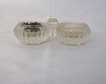 Salt and Pepper Pot - French Vintage Cut Glass  Kitchenalia - Glass Condiments Server - Open Pinch Dip Cellars - Kitchenalia