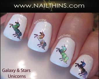 Unicorn nail art etsy galaxy unicorn nail decal nail art nail designs nailthins prinsesfo Images