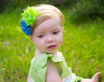Turquoise Flower Headband, Lime Green Headband, Summer Headband, Bright Headband, Newborn Photo Prop, Baby Shower Gift, Teen Headband, Adult