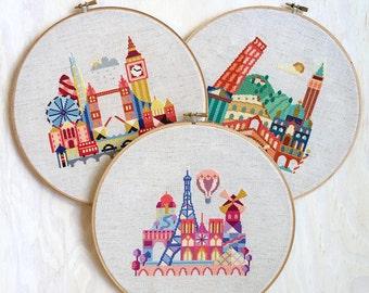 London, Paris, Italy - 3 Satsuma Street modern cross stitch patterns - 18 Dollars USD- Instant Download