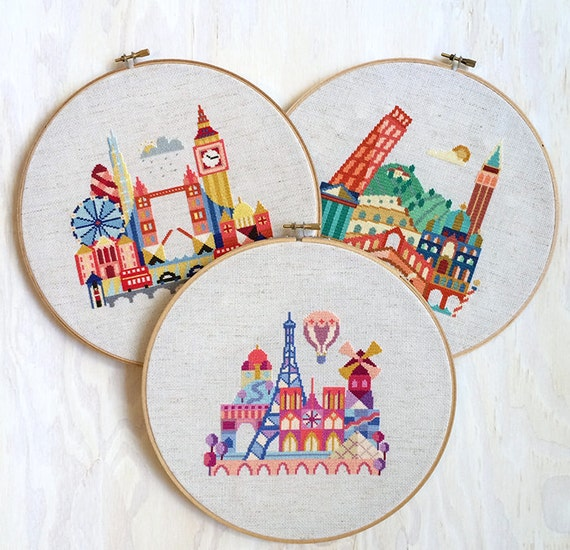 London paris italy satsuma street modern cross stitch