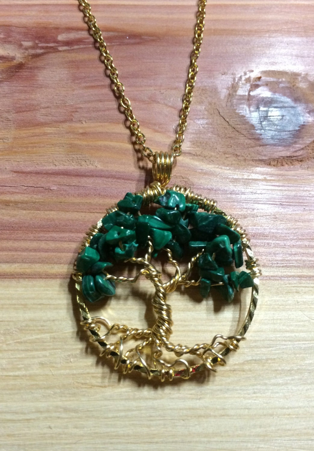 Tree Of Life Necklace Malachite Pendant On 14k Gold Filled