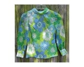 Chiffon Semi Sheer Blouse vintage 60s 70s FLOWER POWER  XS Blue Green White Floral