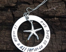 Hand Stamped Starfish Necklace With Quote Inspired by the Starfish Poem