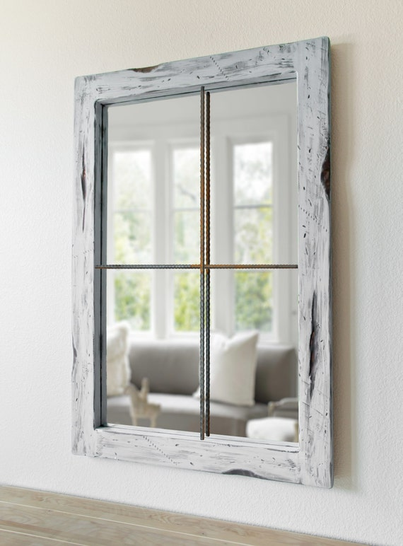 Rustic Mirror Distressed Faux Window White