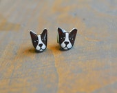 Boston Terrier Dog Resin Earrings