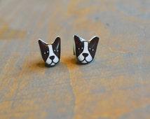 Boston Terrier Dog Resin Earrings