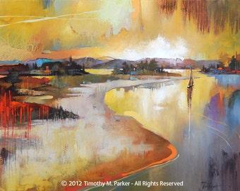 Abstract Landscape Art • Contemporary Landscape and Seascape Painting Reproduction • Goose Creek • Atmospheric Landscape Art