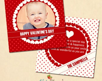 INSTANT DOWNLOAD 5x5 Valentine Card Photoshop Template - CA248