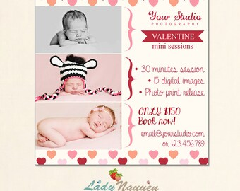 INSTANT DOWNLOAD Valentine Minis Photography Marketing board - MA035