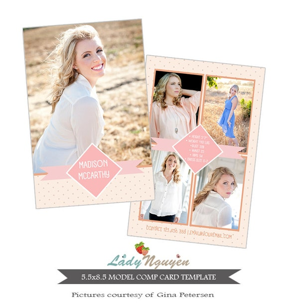 instant download modeling comp card photoshop templates ca402