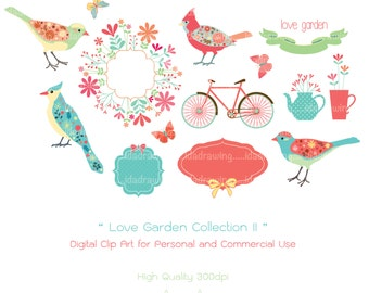 Love Garden Digital Clipart Collection II-Bird Clipart-Flower-Wedding Card-Valentine's Clipart-Digital Floral Frame-Scrapbooking
