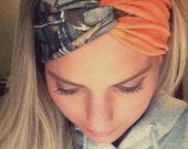 Camo and Blaze Orange Headband Turban Style Headband Hunting Headband