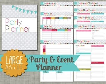 """Party and Event Planner {Printable} Set - Sized Large 8.5 x 11"""" PDF"""