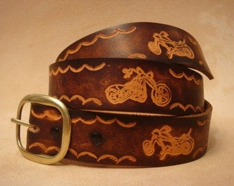 "Tooled Leather Belt - Custom Leather Belt - Personalized Leather Belt - Brown 1-1/2"" Motorcycle Pattern"