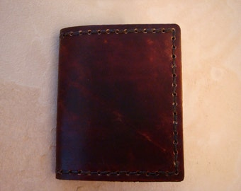 Handmade Brown Leather ID Wallet - Small Billfold