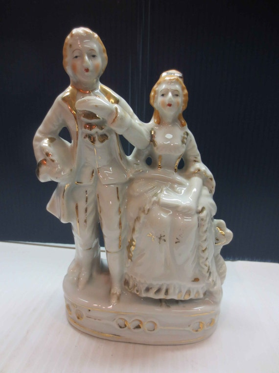 Vintage Made In Japan Victorian Man & Woman Gilt Porcelain