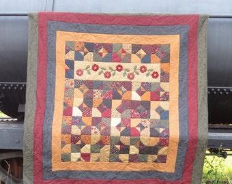 Rustic Quilt | Country Quilt | Primitive Quilt | Double Quilt | Full Quilt | Handmade Quilt | Hand Quilted | Dark Rustic Quilt | Patchwork