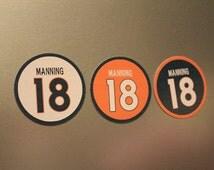 Peyton Manning Magnets - Denver Broncos Jersey Design - 3 magnet set -  #18