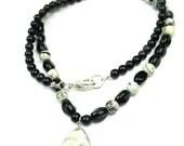 Black White Necklace, Speckled Jasper, Black Obsidian, Glass Beads, Amazonite Pendant, Women's Handmade Jewelry by elle and belle
