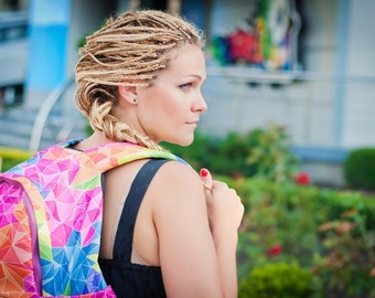 Backpack/ Rainbow Triangles/ Big and organized/ Bag by Bagy
