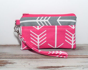 Pink and Gray Arrow Clutch with Wristlet, Cell Phone Wallet