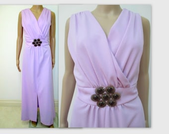 1970s dress, 70s Maxi dress, Lilac gown, with jeweled Brooch, American Hustle, Mad Men Dress,