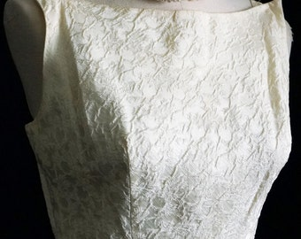 1950s Womens Ivory Damask 2Pc Sheath Wedding Dress Sz 6 Vintage Retro