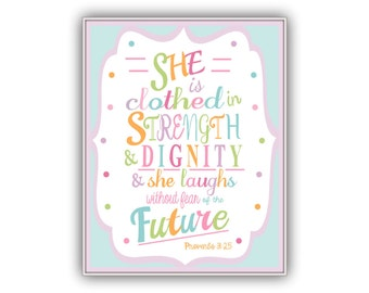 Bible Download She is Clothed in Strength Dignity Printable, Colorful little girl room art, multicolor print, Proverbs 31:25 Scripture Verse