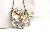White Unicorn Pendant Unicorn Necklace Red Blue Yellow Clay Floral Multicolour Horse Long  Fashion Necklace   Unique  Whimsical Gifts
