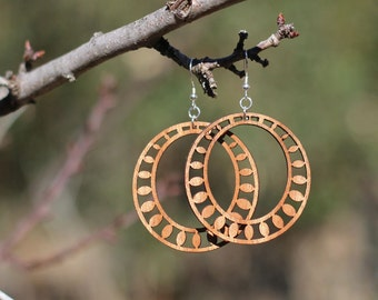 SUNDROP HOOP Earrings // Salvaged WOOD Jewelry // Lightweight Hoops As Seen On...