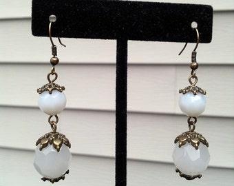Old Astoria- Milk Glass Drop Earrings