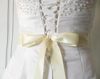 Ivory Wedding Sash, Double Sided Satin Sash, Bridesmaids Sash, Flower Girl Sash, Plain Dress Sash, Bridal Belt, Ivory Wedding Belt