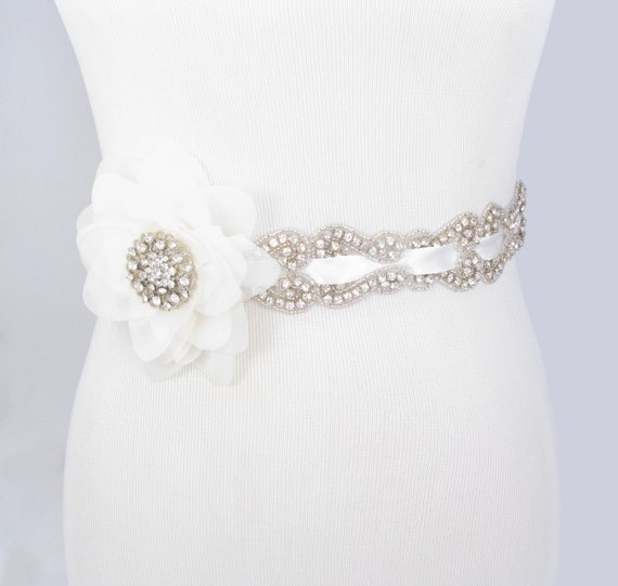 Crystal rhinestone wedding dress sash satin ribbon beaded for Rhinestone sashes for wedding dresses