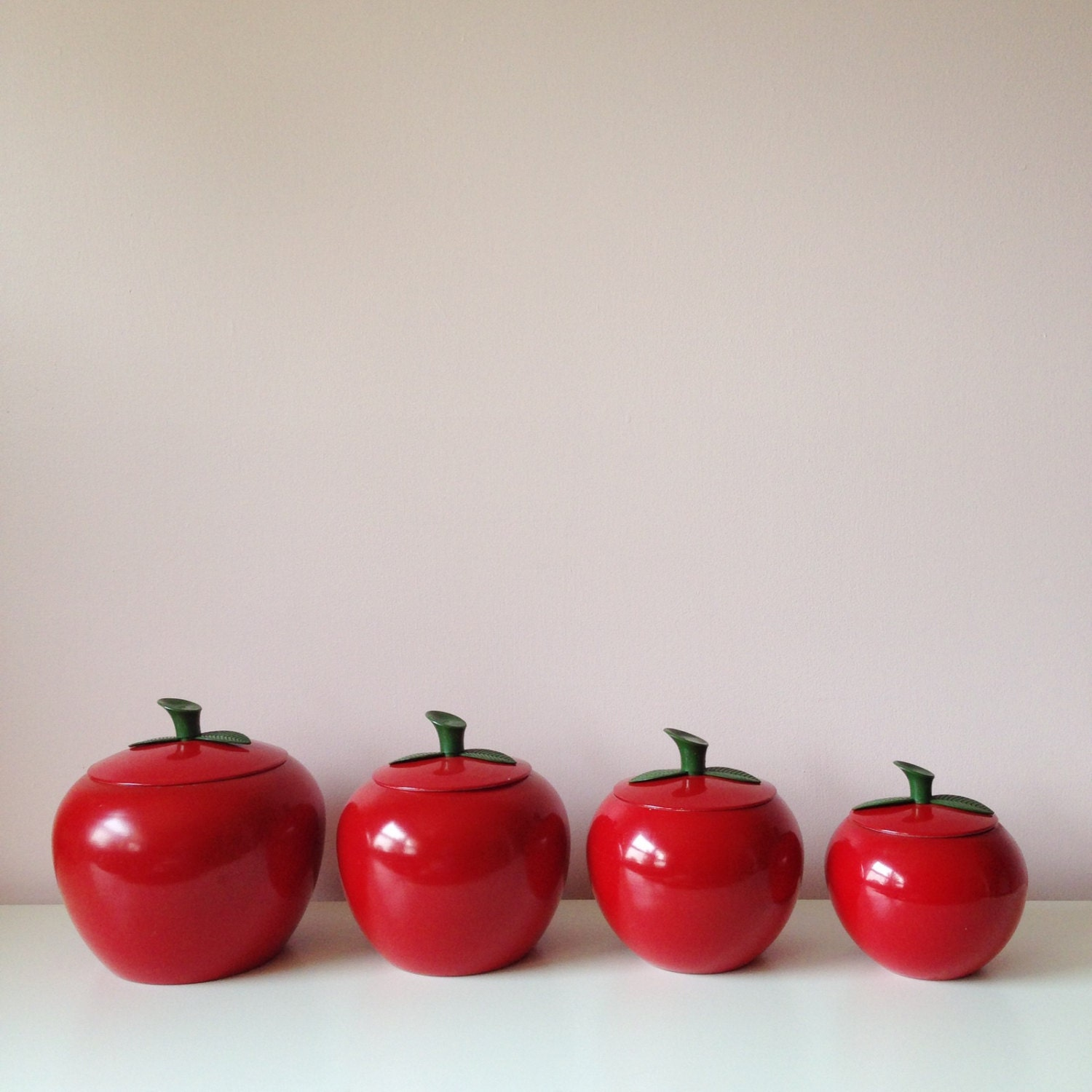 Vintage HAPPY APPLE Canisters / Aluminum Red Kitchen