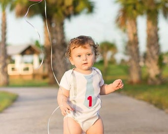 Birthday Chevron Baby Boy Tie bodysuit or shirt with suspenders-  First Birthday Boy Outfit