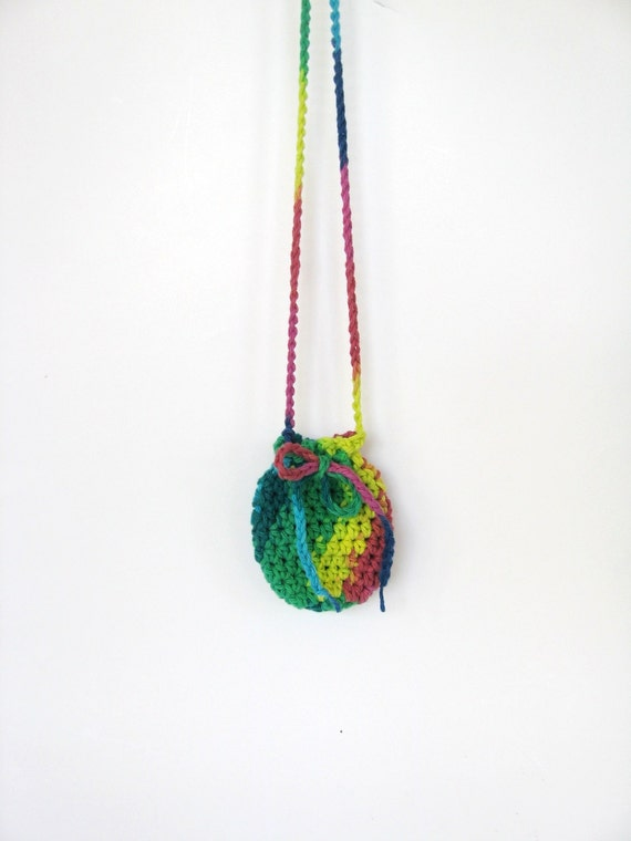 Bright Multicolor Necklace Pouch Crochet by ...