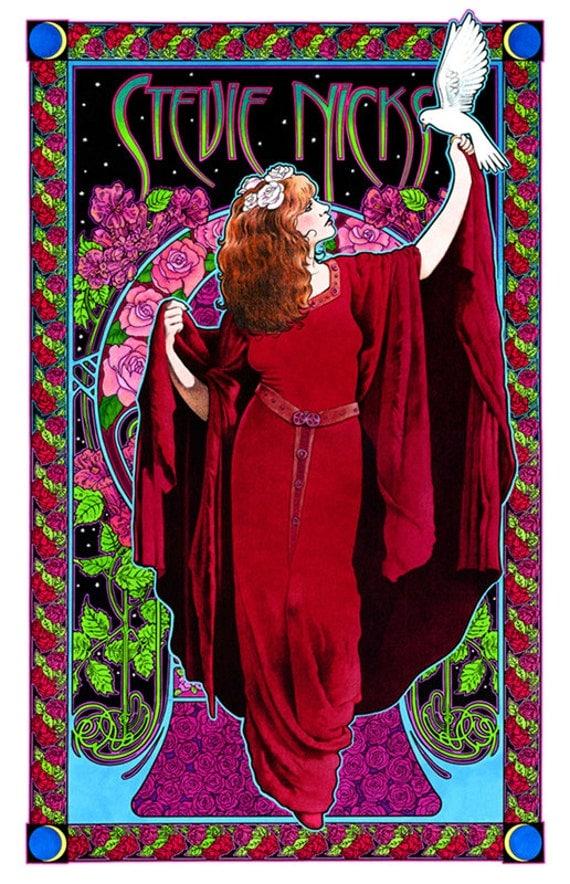Stevie Nicks White-winged Dove art nouveau poster