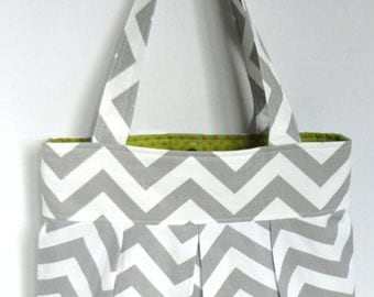 Chevron pleated Hand Bag, purse or diaper bag in gray and white chevron with green lining and pink polka dots- two pockets.