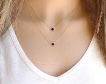 Gold filled Jewellery ,Gold filled Necklace, Double Strand Gold filled Necklace, Two Black Swarovski Crystals Necklace.
