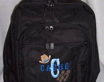 FREE SHIPPING - Cowboy Hat Spurs  Personalized Monogrammed Backpack Book Bag school tote  - NEW